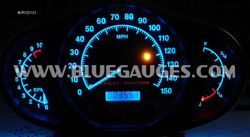 Harley Davidson V-Rod Gauge Backlighting - Bluegauges com